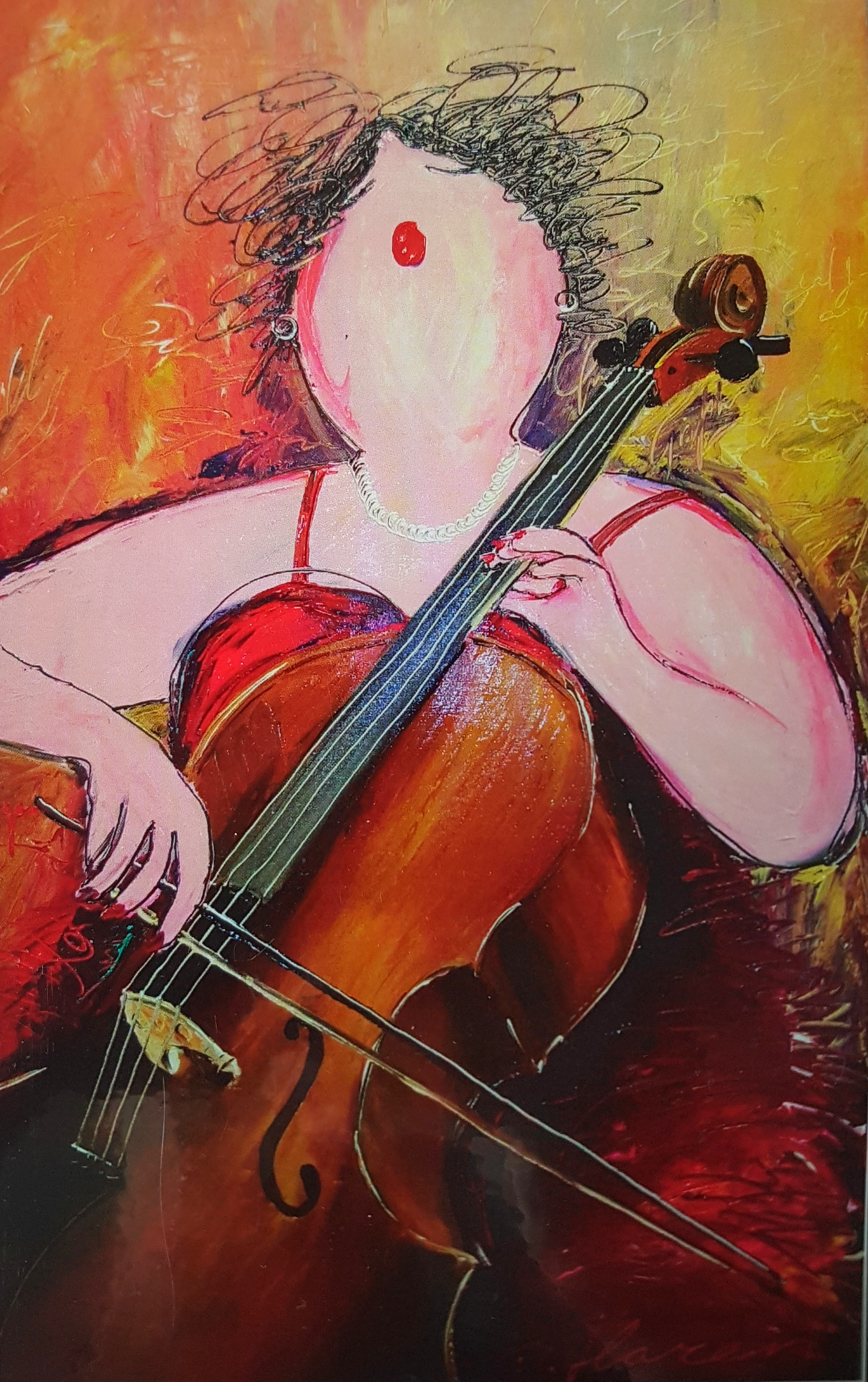 Patrick van Haren Painting PLAYING THE CELLO